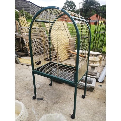 39 - Large arched green and gold parrot cage app. 6 x 3 x 18''...