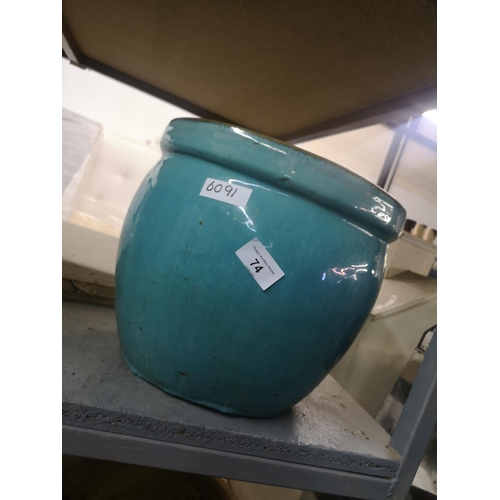 74 - Jade Green glazed ceramic plant pot...