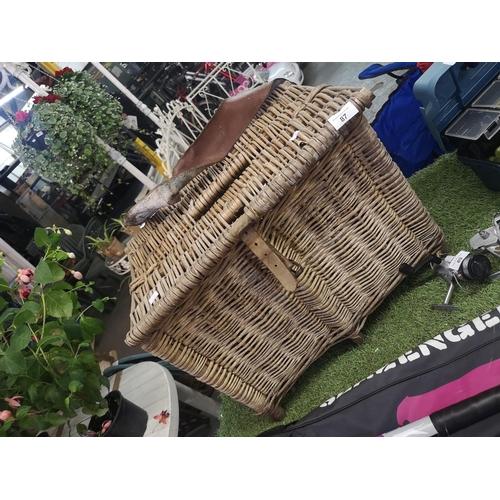 87 - Large wicker fishermans basket...