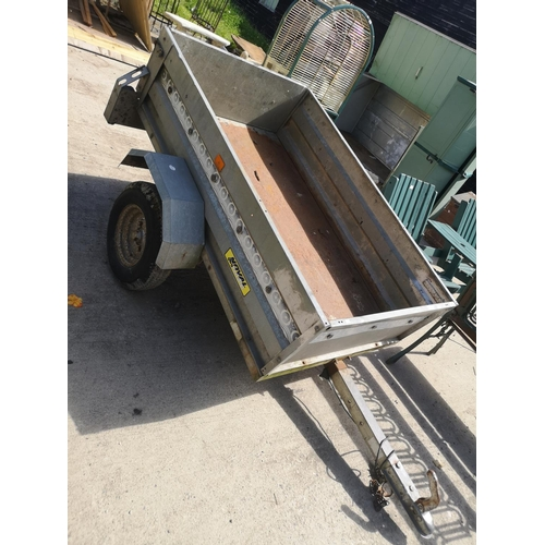 40 - Galvanised metal twin axle tipping trailer app. 6 x 4...