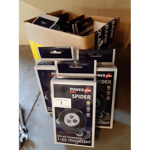 1 - Brand new in boxes 10 Power plus spider lights...