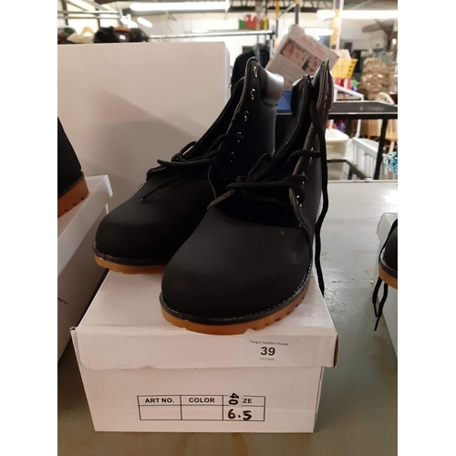 39 - Black lace up ladies suede effect boots size 6.5...