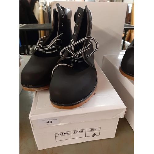 40 - Black lace up ladies suede effect boots size 6.5...