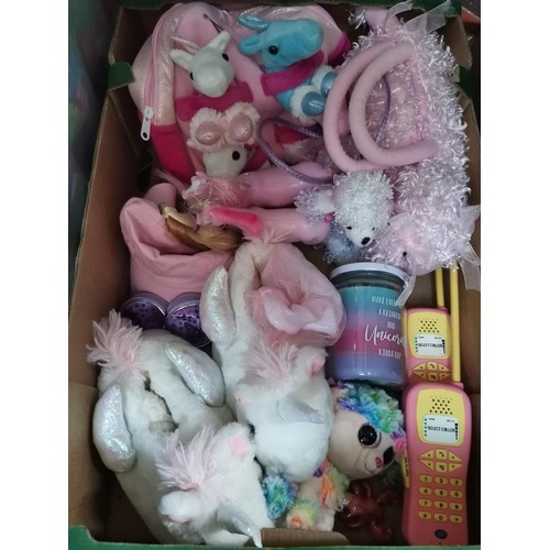 787 - Collection of unicorn and poodle items, slippers, candle and bags