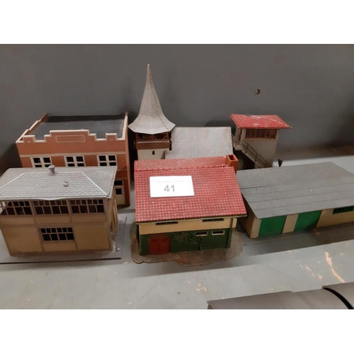 41 - Six plastic HO scale buildings