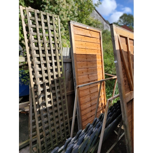 1 - Garden trellis panels, arched panel af, ledge and brace ship lap garden gate in as new condition