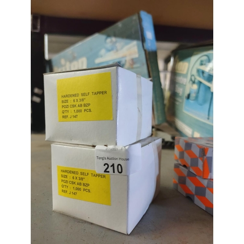 210 - two boxes of self tappers size 6 x 3/8 approx 1000 per box