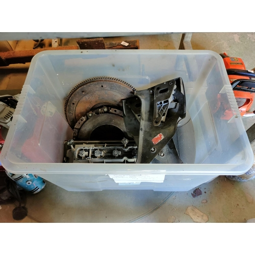 241 - large box of ford transit parts mk2 includes clutch fly wheel mirror back lights