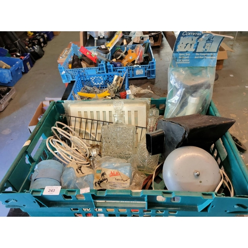 243 - crate of various items bell glass decanters , large bell, wax seal pump horse bandage