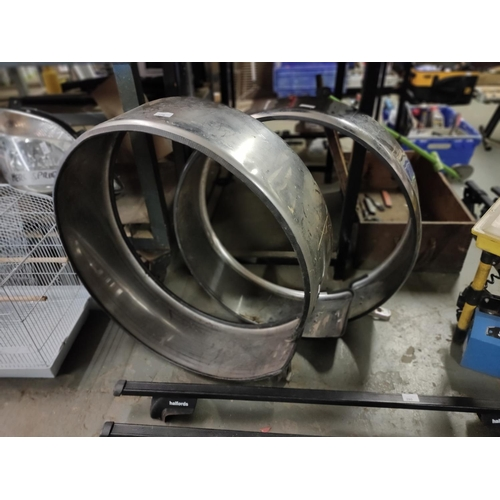 279 - TWO STAINLESS SPARE WHEEL COVERS IN GOOD CONDITION CLEAN