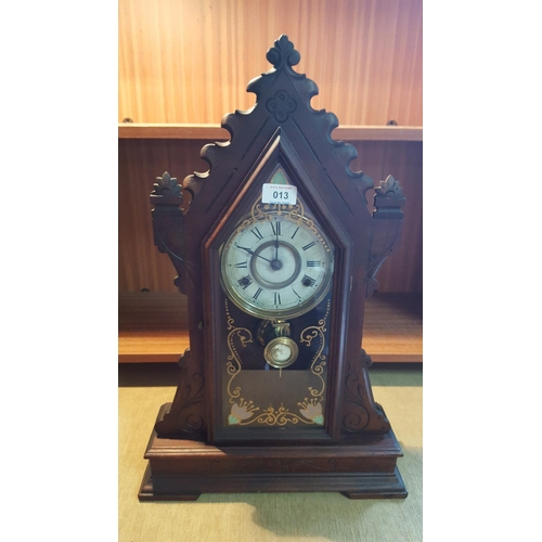 13 - AMERICAN GINGER BREAD MANTLE CLOCK...