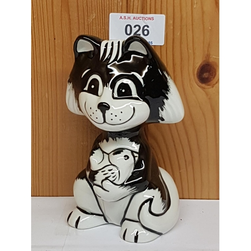 26 - LORNA BAILEY MODEL OF DICKIE THE CAT Signed By Lorna Bailey...