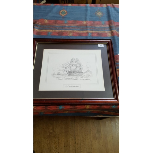 28 - FRAMED And GLAZED PENCIL SKETCH Of H.M.S. VICTORY...