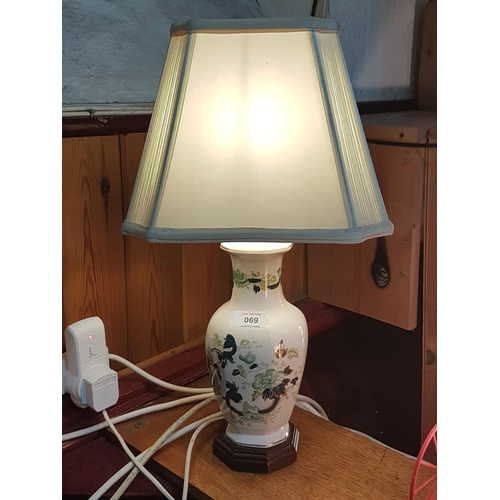 69 - MASON'S IRONSTONE LAMP BASE IN THE CHARTREUSE DESIGN (Complete With Original Shade)...