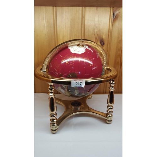 17 - GEMSTONE Large GLOBE On STAND...