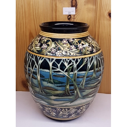201 - MOORCROFT Large VASE Shape 61/10 IN THE MOONSHINE Design.Designed by Kerry Goodwin and issued in a L...