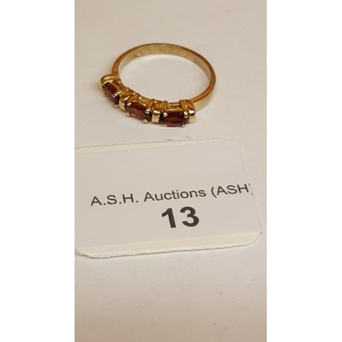 13 - 9ct GOLD , 3 GARNET STONED RING (Boxed)...