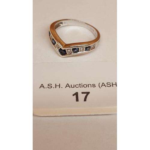 17 - 9ct WHITE GOLD SAPPHIRE & DIAMOND STONE SET WISHBONE RING (Boxed)...