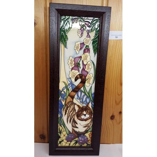 18 - MOORCROFT FRAMED PLAQUE 'TABBY CAT' No Edition 170 Designed By Rachel Bishop R.R.P. £360...