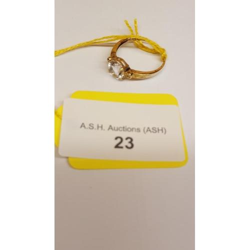 23 - 9ct GOLD WHITE TOPAZ & DIAMOND STONE SET RING (Boxed)...