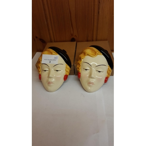 3 - MOORLAND POTTERY ART DECO LADY FACE MASKS (2)...