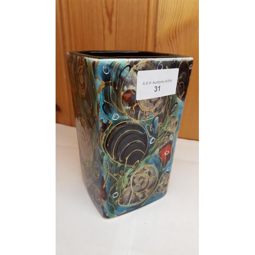 31 - ANITA HARRIS ART POTTERY SQUARE SHAPED VASE IN THE SNAIL DESIGN...