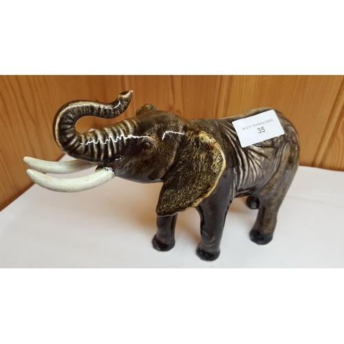 35 - ANITA HARRIS ART POTTERY Large MODEL OF AN ELEPHANT (Trunk In Salute)...