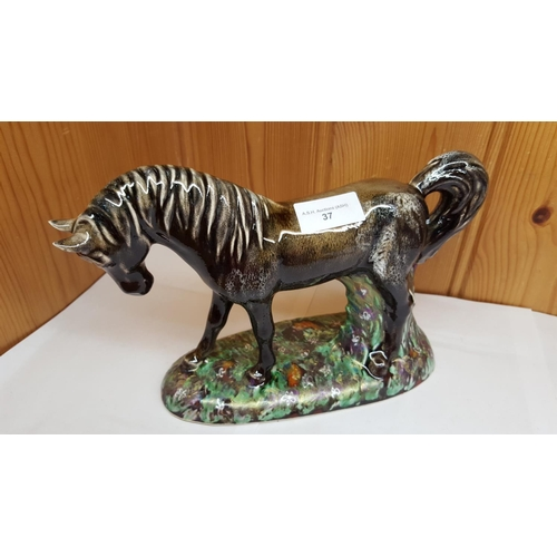 37 - ANITA HARRIS ART POTTERY Large MODEL OF A HORSE ON A PLINTH. (1st Trial Piece)...