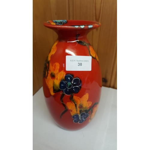 38 - ANITA HARRIS ART POTTERY Large VASE IN ORANGE/BLUE FLOWER DESIGN. (Trial Piece)...