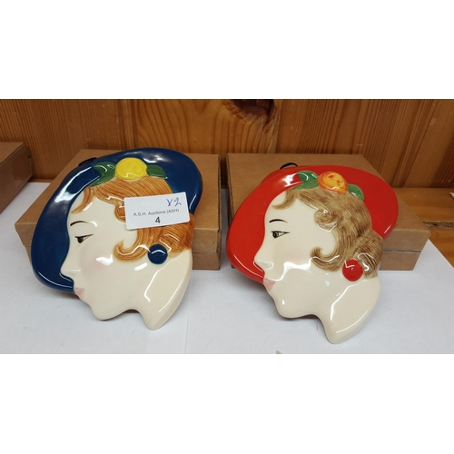 4 - MOORLAND POTTERY ART DECO LADY FACE MASKS (2)...