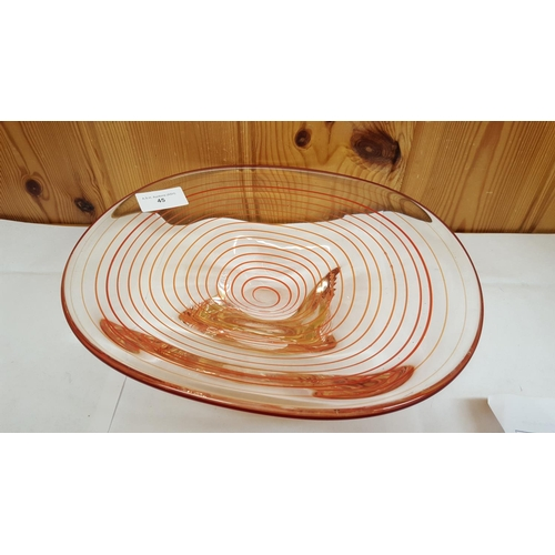 45 - MURANO RED SWIRL DESIGN GLASS BOWL...