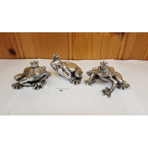 48 - SILVER FROG PRINCE ORNAMENTS (3)...