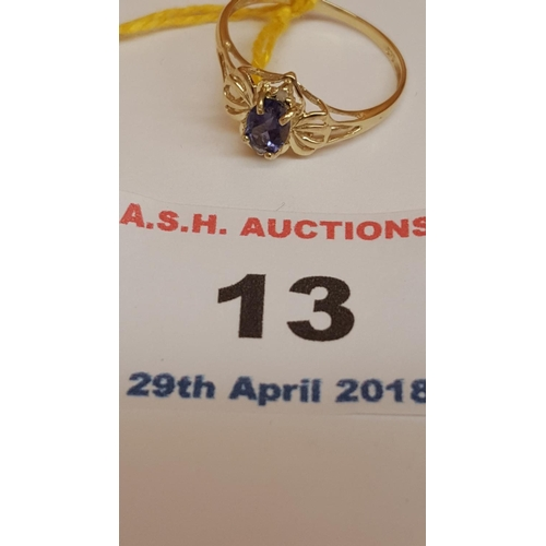13 - 9ct GOLD OVAL IOLITE & DIAMOND STONE SET RING...