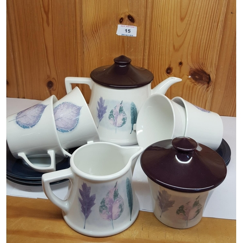 15 - PORTMEIRION TEAPOT, CREAM & SUGAR And CUPS AND SAUCERS...