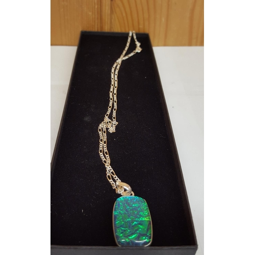 15A - OPAL PENDANT ON SILVER CHAIN...