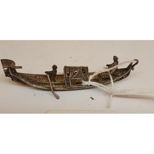 22 - STERLING SILVER Miniature FILIGREE MODEL OF A GONDOLA...
