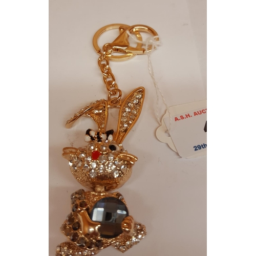4 - JEWELLED RABBIT KEY RING...