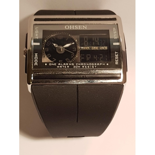10A - OHSEN Brand DIGITAL LCD ALARM/DATE GENTS WRISTWATCH With RUBBER STRAP (As New,Instructions)...