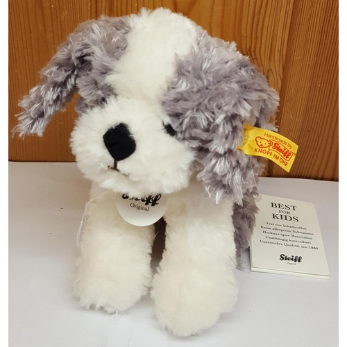 14 - STEIFF GREY & WHITE PUPPY (Button In Ear,Label And Tags)...