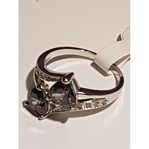15A - SILVER (925) HEART CUT RAINBOW And WHITE TOPAZ STONE SET LADIES RING...