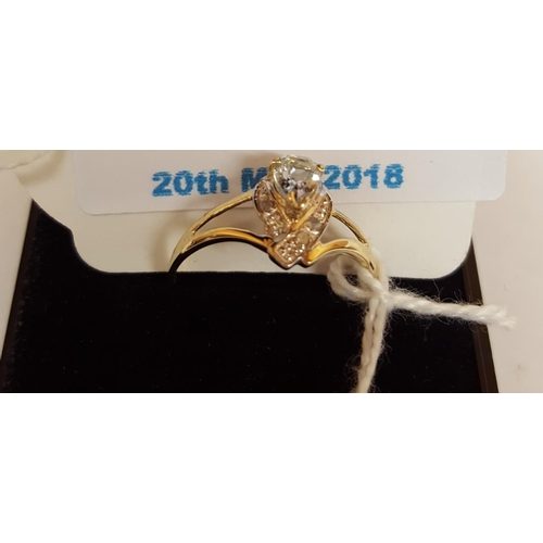 16 - 9ct GOLD SWISS BLUE TOPAZ & DIAMOND STONE SET RING...