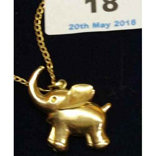 18 - 9ct GOLD ELEPHANT With 9ct GOLD CHAIN (Approx 3.5 Grams)...