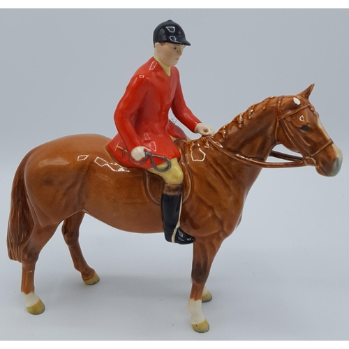 170 - BESWICK MODEL OF A HUNTSMAN (ON STANDING HORSE) (Chestnut Brown Gloss Horse,Huntsman With Orange Jac...