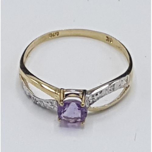 18 - 9ct GOLD AMETHYST & DIAMOND STONE SET RING (Boxed)...