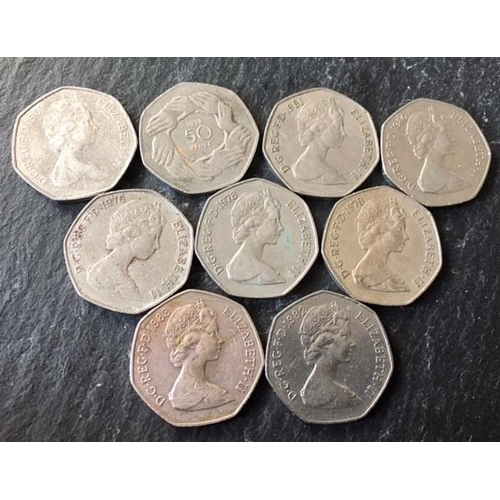 35A - OLD TYPE 50 PENCES (Different Dates) (9)...
