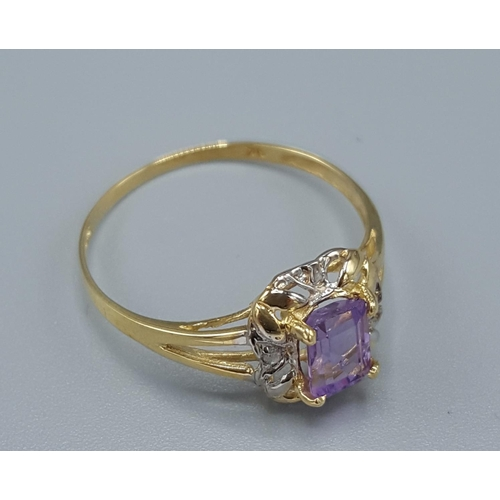10 - 9ct GOLD NATURAL AMETHYST & DIAMOND STONE SET RING...