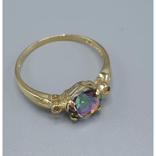 5 - 9ct GOLD MYSTIC TOPAZ & DIAMOND STONE SET RING...