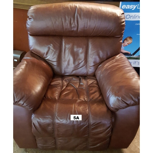 5A - BROWN LEATHER RECLINING CHAIR...