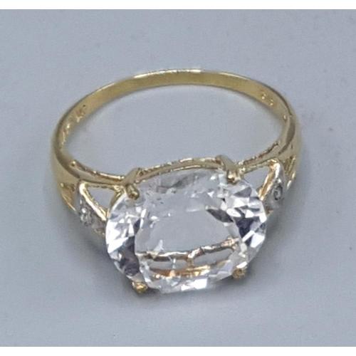 24 - 9ct GOLD WHITE TOPAZ & DIAMOND STONE SET RING (Boxed)...
