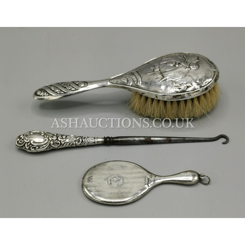 8 - PRESENTED AS SOLID SILVER ITEMS (3) RED RIDING HOOD CHILDS BRUSH c1921 CHATELAINE Small MIRROR 1928 ...